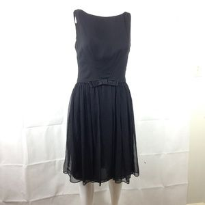 Milly Black Silk Chiffon Cocktail Party Dress 6